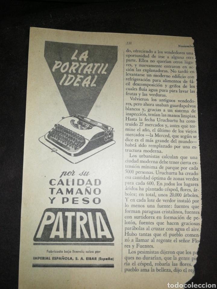 MÁQUINA ESCRIBIR PATRIA, IMPÉRIAL ESPAÑOLA, ANTIGUA PUBLICIDAD AÑO 1957. (Antigüedades - Técnicas - Máquinas de Escribir Antiguas - Patria)