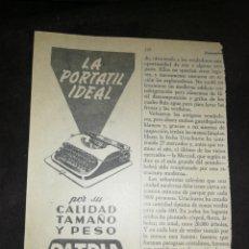 Antigüedades: MÁQUINA ESCRIBIR PATRIA, IMPÉRIAL ESPAÑOLA, ANTIGUA PUBLICIDAD AÑO 1957.. Lote 250272190