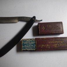 Antigüedades: ANTIGUA NAVAJA PARA AFEITADO RICHARD ABR. HERDER, SALINGEN. MOD.214. SELLOS DEL VENDEDOR EN INTERIOR. Lote 251577225