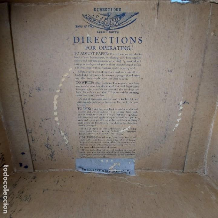 Antigüedades: Maquina Escribir de Chapa--SIMPLEX TYPEWRITER Special D--PATENTES e Instrucciones---Juguete - Foto 5 - 251837140