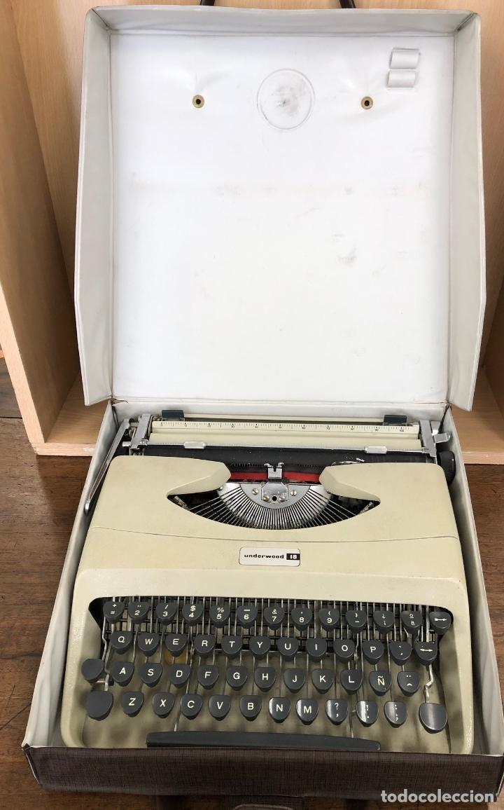 MAQUINA DE ESCRIBIR UNDERWOOD 18 OLIVETTI. EN SU ESTUCHE ORIGINAL AÑOS 60/70 (Antigüedades - Técnicas - Máquinas de Escribir Antiguas - Underwood)