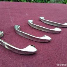 Antigüedades: LOTE DE 4 TIRADORES PARA ARMARIOS O CAJONES METALICOS, TIPO INDUSTRIAL, DE OFICINA. Lote 252157305