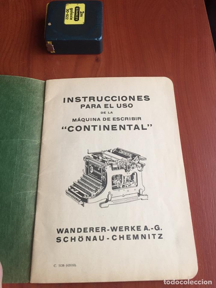 Antigüedades: Instrucciones uso máquina de escribir continental - Foto 3 - 252516795
