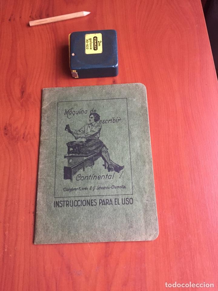 INSTRUCCIONES USO MÁQUINA DE ESCRIBIR CONTINENTAL (Antigüedades - Técnicas - Máquinas de Escribir Antiguas - Continental)