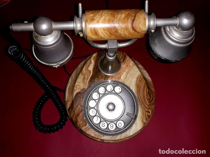 TELÉFONO VINTAGE ONIX TELMAR ORO PLATEADO 18 KILATES (Antigüedades - Técnicas - Teléfonos Antiguos)