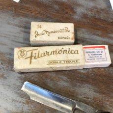 Antigüedades: NAVAJA AFEITAR FILARMONICA . 14 DOBLE TEMPLE. Lote 252830890