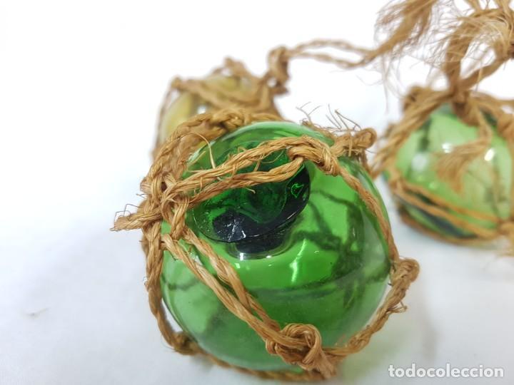 Antigüedades: Lote boyas de cristal, pesca. - Foto 3 - 253037935