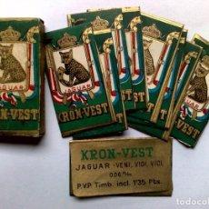 Antigüedades: CAJA ANTIGUA DE 10 HOJAS DE AFEITAR,JAGUAR-KRONVEST,CON TIMBRE ADUANAS,SIN USAR.. Lote 253614735