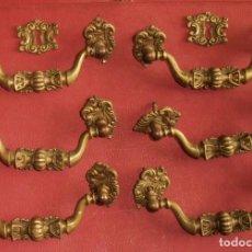 Antigüedades: 6, TIRADORES DE BRONCE, ANTIGUOS Y 2 BOCALLAVES. Lote 253744695