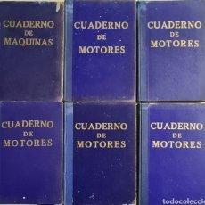 Antigüedades: LOTE DE 6 LIBROS DE CUADERNO DE MAQUINAS AÑOS 50. BUQUES HISTORICOS MARINA MERCANTE.. Lote 253924210