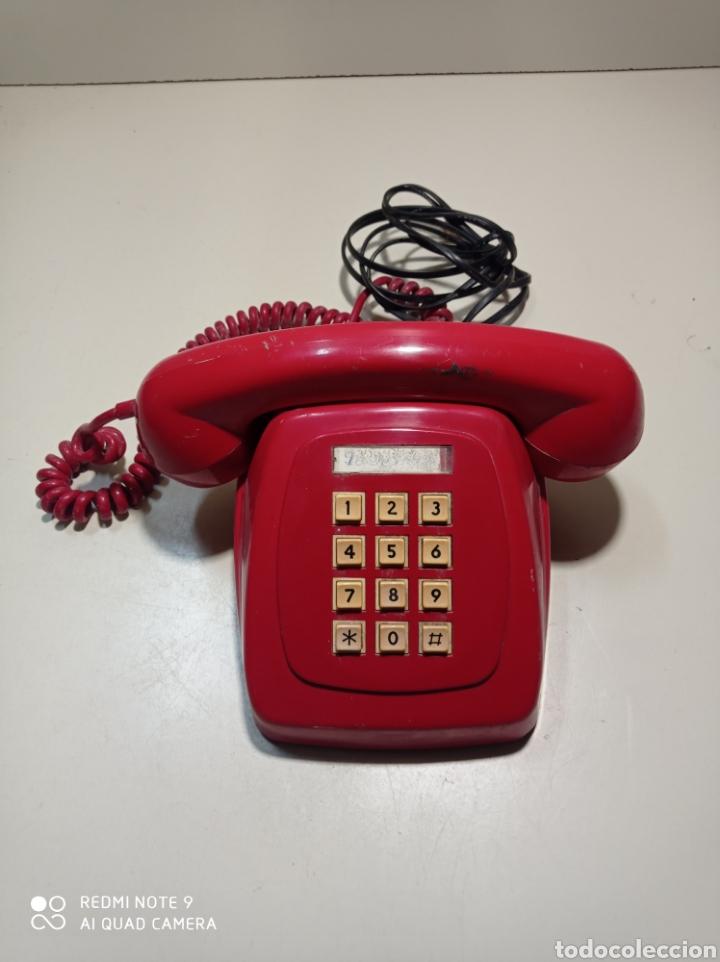 TELÉFONO HERALDO ROJO DE TECLAS DE CTNE, COMPAÑÍA TELEFÓNICA NACIONAL ESPAÑOLA. EL DE LÍNEA DIRECTA. (Antigüedades - Técnicas - Teléfonos Antiguos)