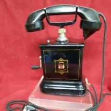 Teléfonos: ANTIGUO TELÉFONO DE ACERO Y BAQUELITA. Lote 254357305