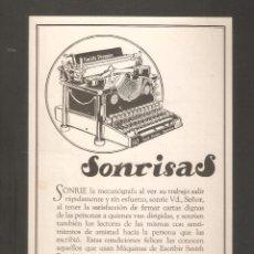Antigüedades: ANUNCIO 1927. MAQUINA DE ESCRIBIR SMITH PREMIER . 28 X 14 CMS . VELL I BELL. Lote 254440930