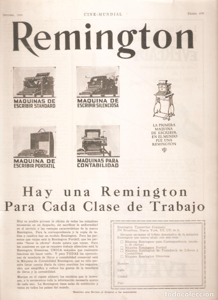 ANUNCIO 1926. MAQUINA DE ESCRIBIR REMINGTON . 12 X 41 CMS . VELL I BELL (Antigüedades - Técnicas - Máquinas de Escribir Antiguas - Remington)