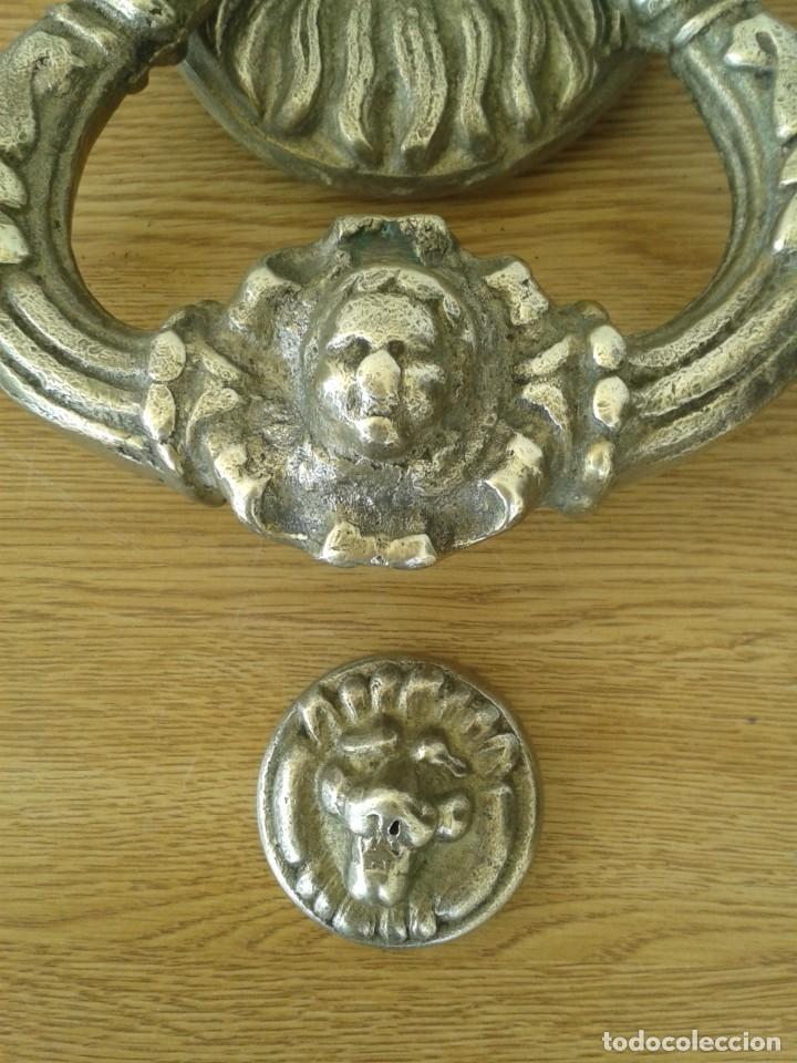 Antigüedades: ANTIGUA Y GRAN ALDABA LLAMADOR DE BRONCE CABEZA LEON - Foto 4 - 254462650