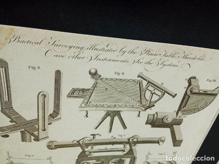 Antigüedades: Grabado original XVIII Lodge sculp.- Teodolito brujulas ... - Foto 2 - 254812580