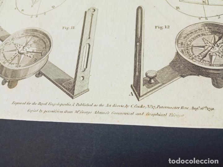 Antigüedades: Grabado original XVIII Lodge sculp.- Teodolito brujulas ... - Foto 4 - 254812580