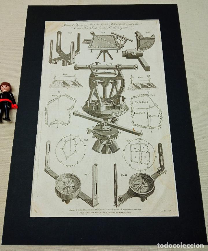 GRABADO ORIGINAL XVIII LODGE SCULP.- TEODOLITO BRUJULAS ... (Antigüedades - Técnicas - Otros Instrumentos Ópticos Antiguos)