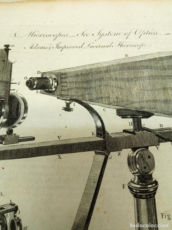 Antigüedades: Grabado original s.XVIII - Microscopio lucerrnal Adams - Foto 2 - 254816975