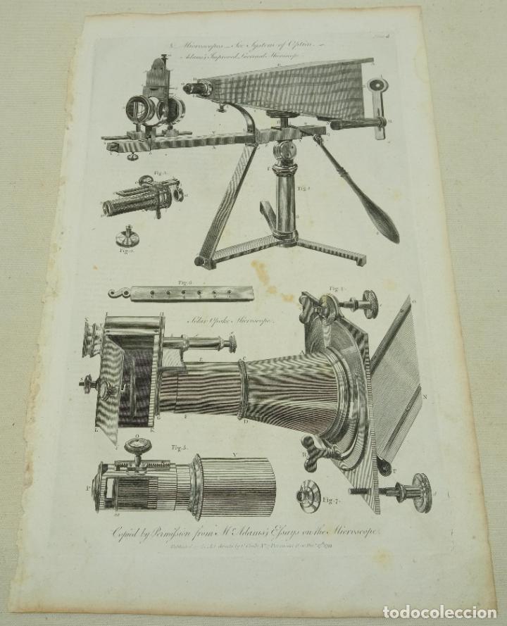 GRABADO ORIGINAL S.XVIII - MICROSCOPIO LUCERRNAL ADAMS (Antigüedades - Técnicas - Instrumentos Ópticos - Microscopios Antiguos)