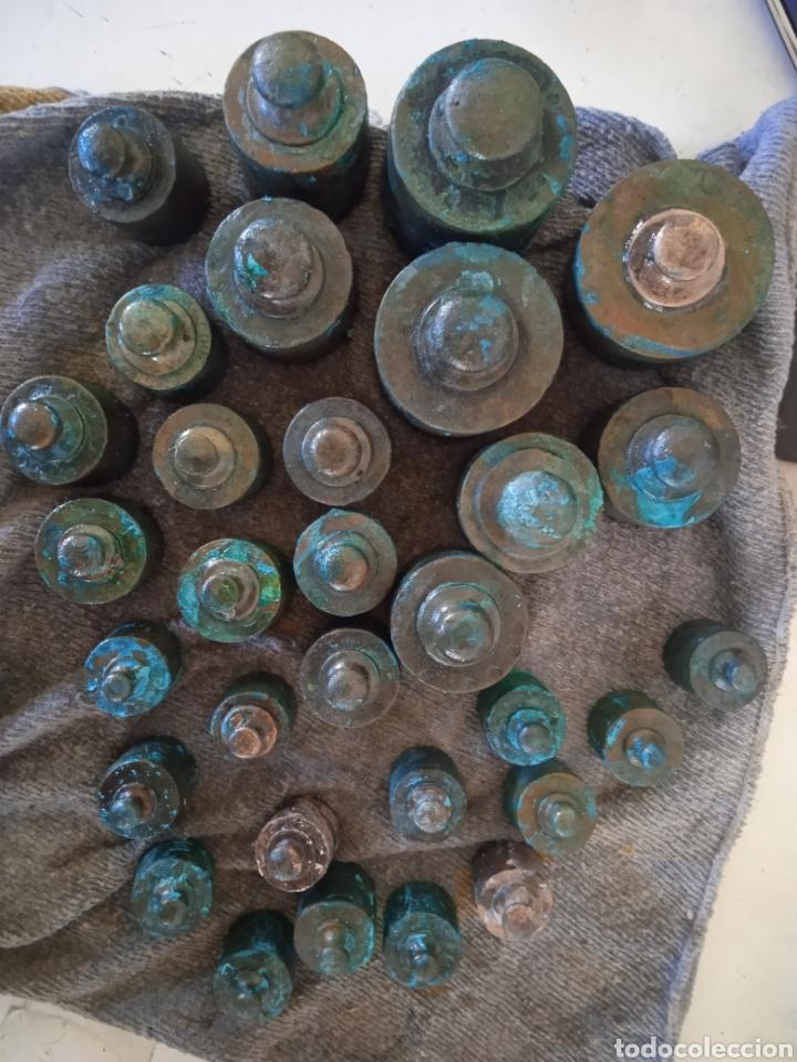 Antigüedades: Lote de ponderal pesas de bronce antiguas - Foto 2 - 254902240