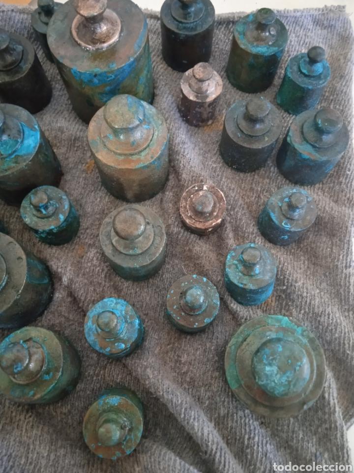 Antigüedades: Lote de ponderal pesas de bronce antiguas - Foto 3 - 254902240