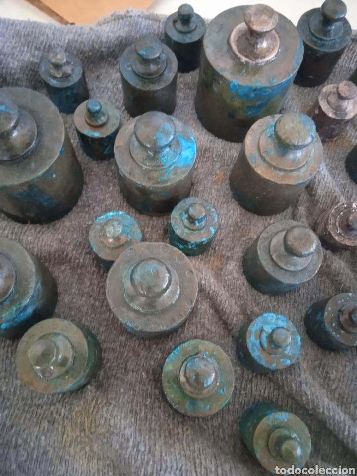 Antigüedades: Lote de ponderal pesas de bronce antiguas - Foto 5 - 254902240