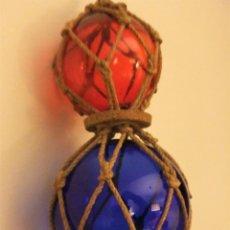 Antigüedades: ANTIGUAS BOYAS DE CRISTAL CON RED. Lote 255330315