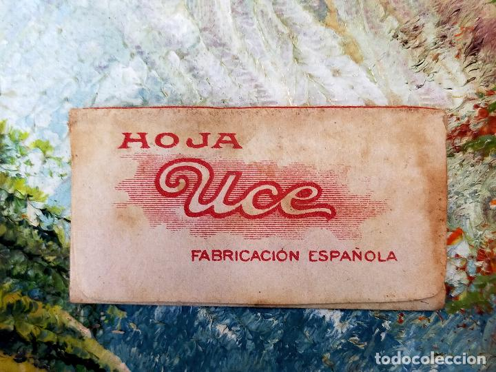 Antigüedades: RARA HOJA DE AFEITAR UCE COMPLETA - CONTENIDO ORIGINAL - Foto 2 - 255504995