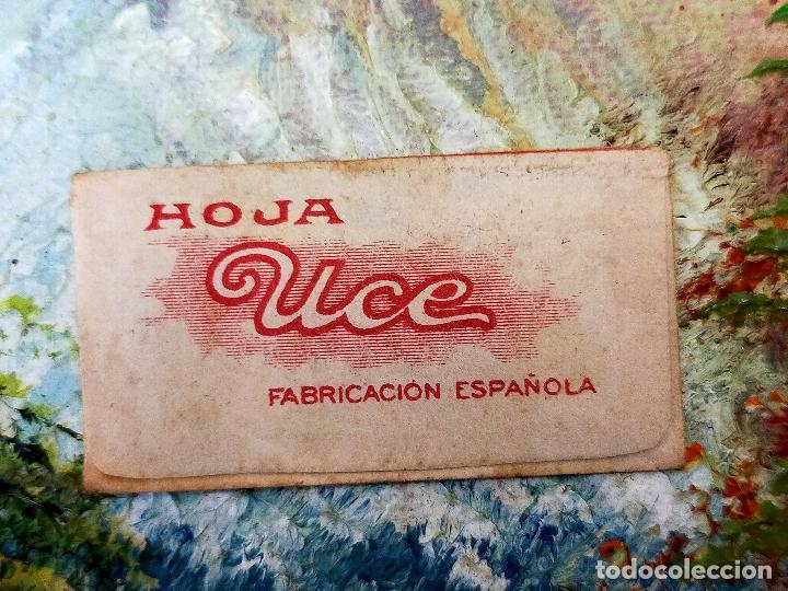 Antigüedades: RARA HOJA DE AFEITAR UCE COMPLETA - CONTENIDO ORIGINAL - Foto 2 - 255505130