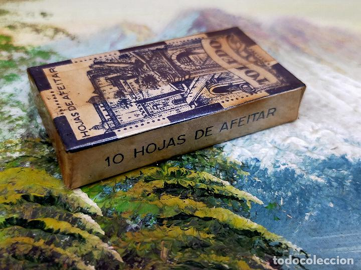 Antigüedades: CAJA CON 10 Hoja de afeitar HOJAS DE AFEITAR TOLEDO - PRECINTADA - Foto 2 - 255512200