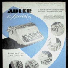 Antigüedades: HOJA PUBLICITARIA DE LA MÁQUINA DE ESCRIBIR ADLER SPECIAL. ORIGINAL DE 1962. EN ESPAÑOL.. Lote 255630700