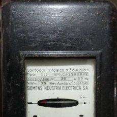 Antigüedades: CONTADOR ELÉCTRICO SIEMENS TRIFASICO ANTIGUO. Lote 255917930