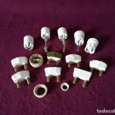 Antigüedades: LOTE DE ANTIGUAS PIEZAS DE CERÁMICA PARA ELECTRICIDAD, ENCHUFES, PORTALÁMPARAS Y OTRO,UNAS 15 PIEZAS. Lote 255984085