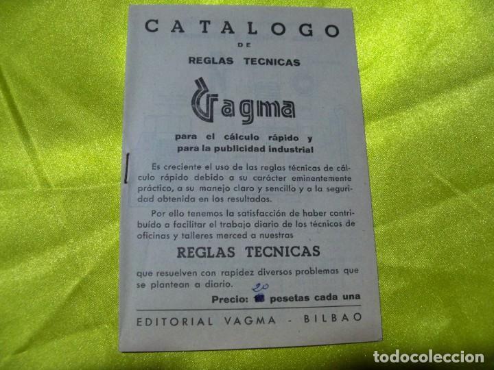ANTIGUO CATÁLOGO DE REGLAS TÉCNICAS GAGMA, PARA EL CÁLCULO RÁPIDO Y PARA LA PUBLICIDAD INDUSTRIAL (Antigüedades - Técnicas - Herramientas Profesionales - Mecánica)