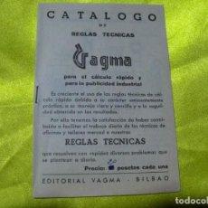 Antigüedades: ANTIGUO CATÁLOGO DE REGLAS TÉCNICAS GAGMA, PARA EL CÁLCULO RÁPIDO Y PARA LA PUBLICIDAD INDUSTRIAL. Lote 256145175