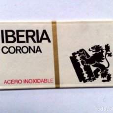 Antigüedades: HOJA DE AFEITAR ANTIGUA,IBERIA CORONA,ACERO INOXIDABLE.. Lote 256169910