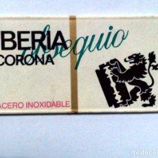 Antigüedades: HOJA DE AFEITAR ANTIGUA,OBSEQUIO IBERIA CORONA,ACERO INOXIDABLE.. Lote 256169965