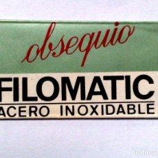 Antigüedades: HOJA DE AFEITAR ANTIGUA,OBSEQUIO FILOMATIC,ACERO INOXIDABLE.. Lote 256170225