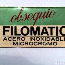 Antigüedades: HOJA DE AFEITAR ANTIGUA,OBSEQUIO FILOMATIC ACERO INOXIDABLE,MICROCROMO.. Lote 257304300