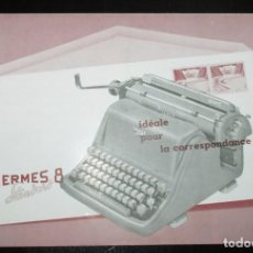 Antigüedades: CATÁLOGO DESPLEGABLE DE LA MÁQUINA DE ESCRIBIR HERMES 8 STANDARD. ORIGINAL DE 1959. EN FRANCÉS.. Lote 257338770