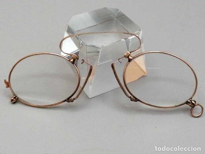 Antigüedades: Gafas Binoculares antiguos metal enchapado en oro - Foto 2 - 257644205