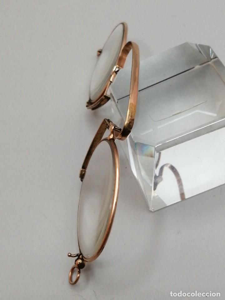 Antigüedades: Gafas Binoculares antiguos metal enchapado en oro - Foto 3 - 257644205