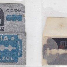Antigüedades: FUNDA Y HOJA DE CUCHILLA DE AFEITAR ANTIGUA - IBERIA Nº 5 ACERO AZUL. Lote 257652670