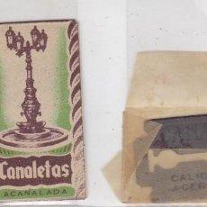 Antigüedades: FUNDA Y HOJA DE CUCHILLA DE AFEITAR ANTIGUA - CANALETAS. Lote 257654985