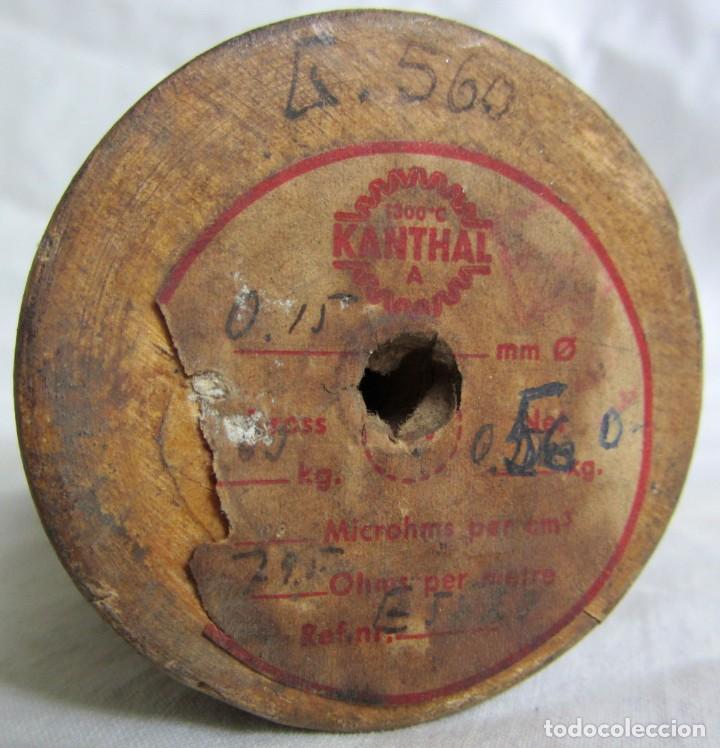 Antigüedades: Bobina de madera hilo resistivo para fabricar resistencias 1300ºC, 0,15 mm de diámetro - Foto 4 - 258998310