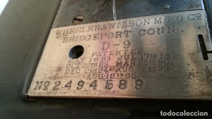 Antigüedades: Máquina de coser antigua. Marca Wheeler & Wilson. - Foto 6 - 259229095