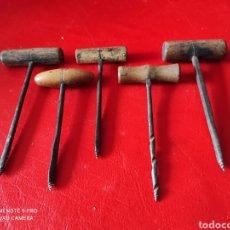 Antigüedades: LOTE 5 ANTIGUAS BROCAS DE MANO DE CARPINTERO. Lote 259903635