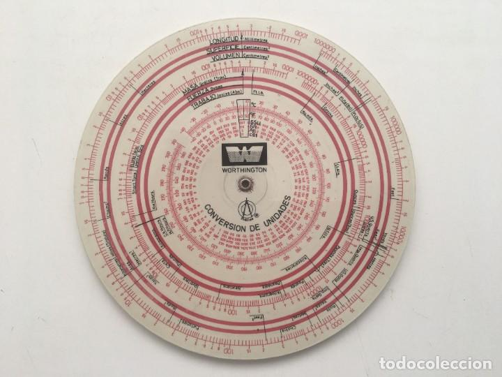 REGLA DISCO CONVERSIÓN UNIDADES PRECISO (Antigüedades - Técnicas - Aparatos de Cálculo - Calculadoras Antiguas)