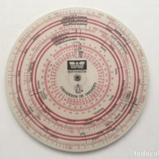 Antigüedades: REGLA DISCO CONVERSIÓN UNIDADES PRECISO. Lote 259992755